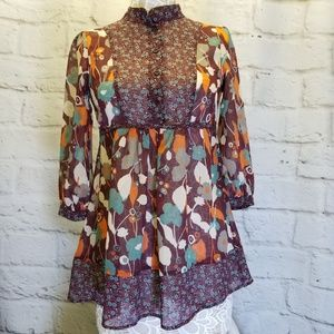 Colorful Babydoll Blouse